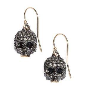 ALEXIS BITTAR Crystal Encrusted Skull Earrings